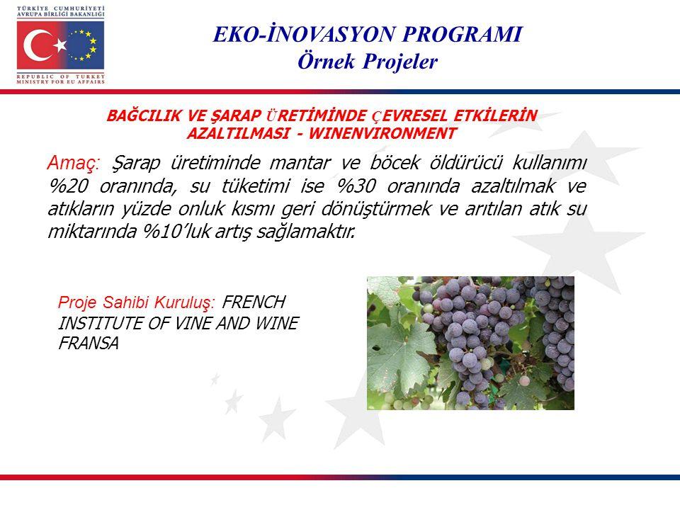 EKO-İNOVASYON PROGRAMI Örnek Projeler Amaç: Şarap üretiminde mantar ve böcek öldürücü kullanımı %20 oranında, su tüketimi ise %30 oranında azaltılmak
