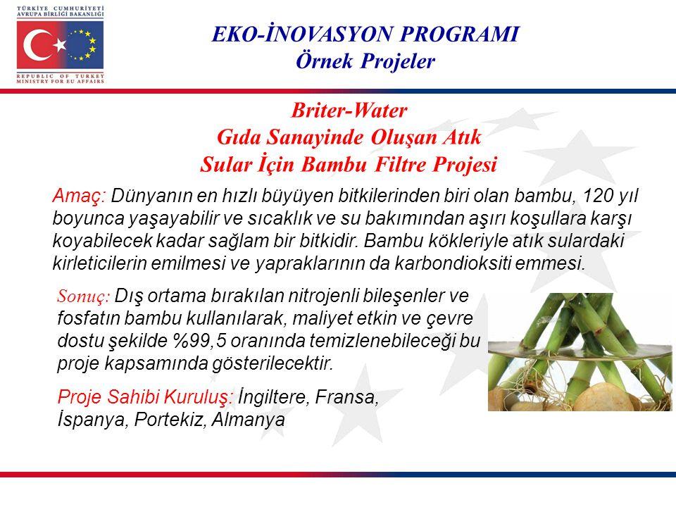 EKO-İNOVASYON PROGRAMI Örnek Projeler Proje Sahibi Kuruluş: İngiltere, Fransa, İspanya, Portekiz, Almanya Briter-Water Gıda Sanayinde Oluşan Atık Sula