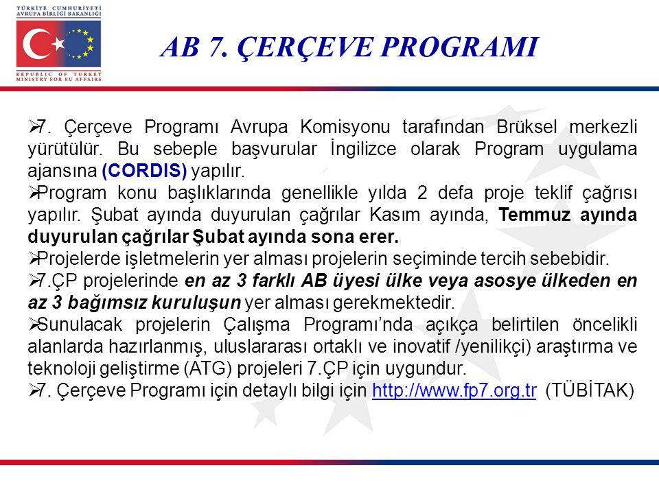  7. Çerçeve Programı Avrupa Komisyonu tarafından Brüksel merkezli yürütülür. Bu sebeple başvurular İngilizce olarak Program uygulama ajansına (CORDIS