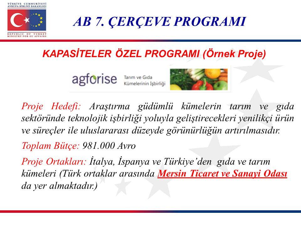 AB 7. ÇERÇEVE PROGRAMI Proje Hedefi: Araştırma güdümlü kümelerin tarım ve gıda sektöründe teknolojik işbirliği yoluyla geliştirecekleri yenilikçi ürün