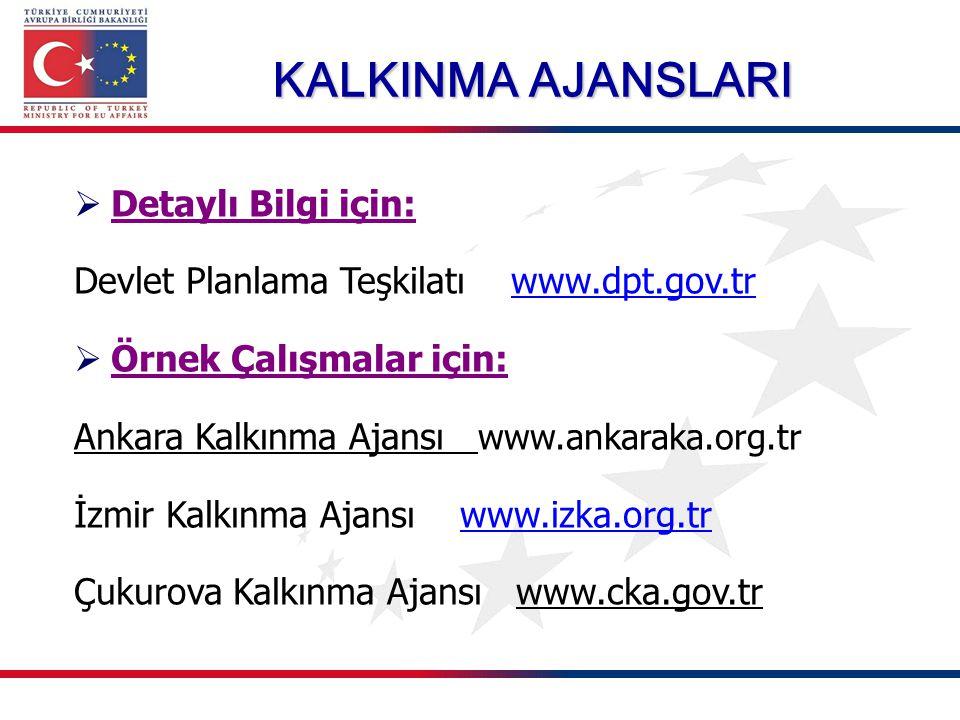 KALKINMA AJANSLARI  Detaylı Bilgi için: Devlet Planlama Teşkilatı www.dpt.gov.trwww.dpt.gov.tr  Örnek Çalışmalar için: Ankara Kalkınma Ajansı www.an