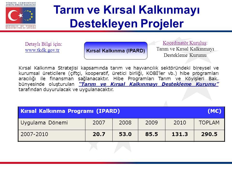 Kırsal Kalkınma (IPARD) Detaylı Bilgi için: www.tkdk.gov.tr Koordinatör Kuruluş: Tarım ve Kırsal Kalkınmayı Destekleme Kurumu Kırsal Kalkınma Strateji