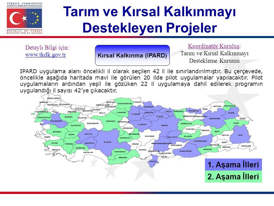1. Aşama İlleri 2. Aşama İlleri Kırsal Kalkınma (IPARD) Detaylı Bilgi için: www.tkdk.gov.tr Koordinatör Kuruluş: Tarım ve Kırsal Kalkınmayı Destekleme