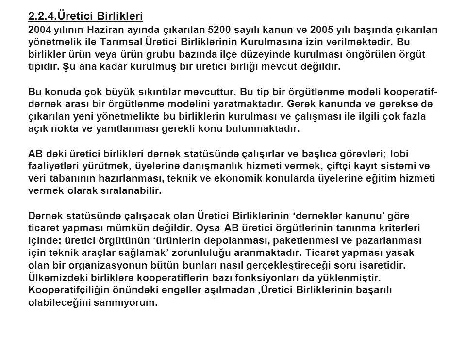 10 2.2.4.Üretici Birlikleri 2004 yılının Haziran ayında çıkarılan 5200 sayılı kanun ve 2005 yılı başında çıkarılan yönetmelik ile Tarımsal Üretici Bir