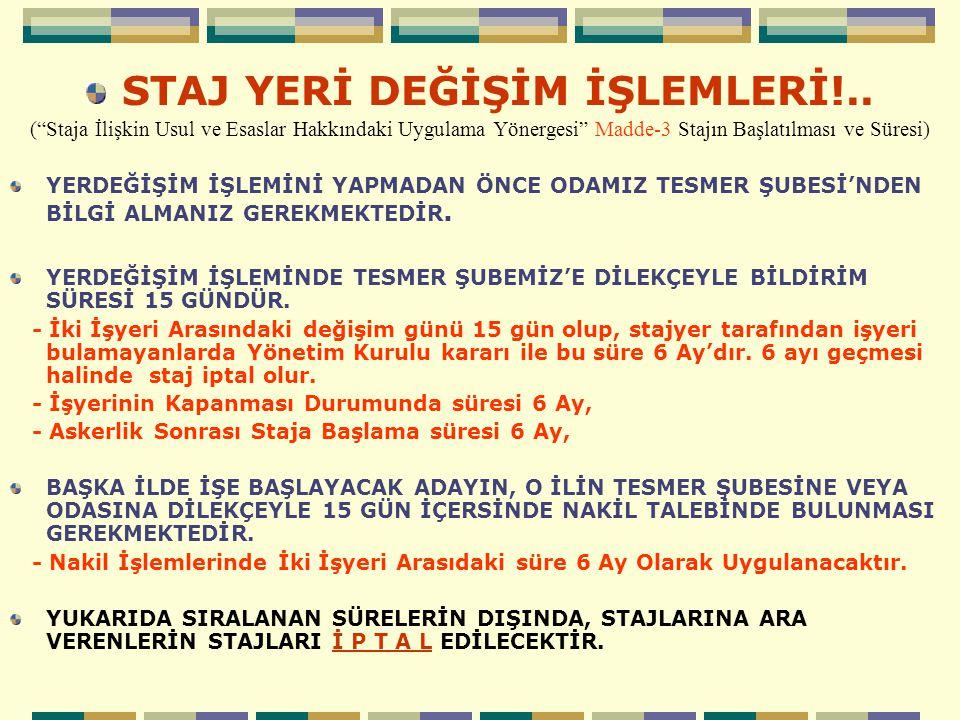 İŞLETMELERDE STAJ YAPACAK ADAYLARIN DİKKAT ETMESİ GEREKEN İŞLEMLER!..