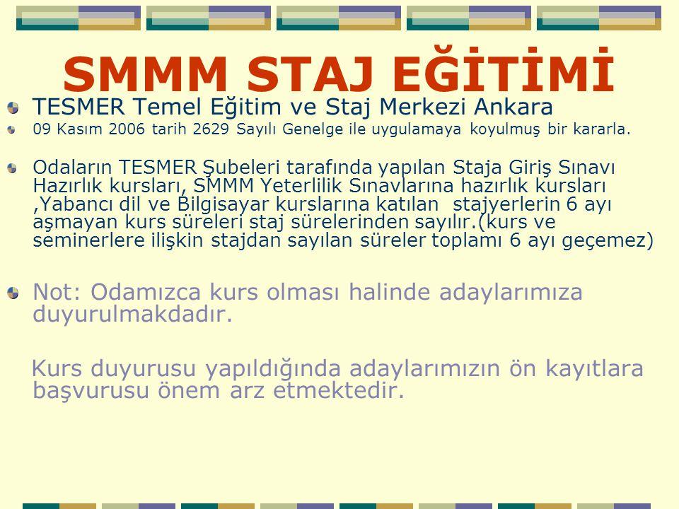 SMMM STAJ EĞİTİMİ TESMER Temel Eğitim ve Staj Merkezi Ankara 09 Kasım 2006 tarih 2629 Sayılı Genelge ile uygulamaya koyulmuş bir kararla. Odaların TES