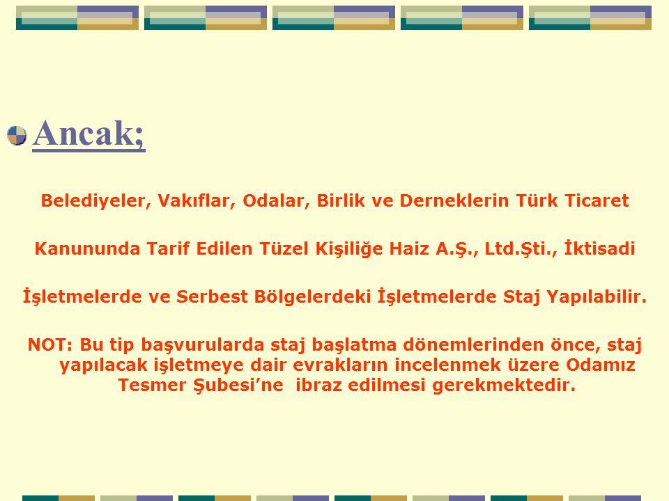 Ancak; Belediyeler, Vakıflar, Odalar, Birlik ve Derneklerin Türk Ticaret Kanununda Tarif Edilen Tüzel Kişiliğe Haiz A.Ş., Ltd.Şti., İktisadi İşletmele