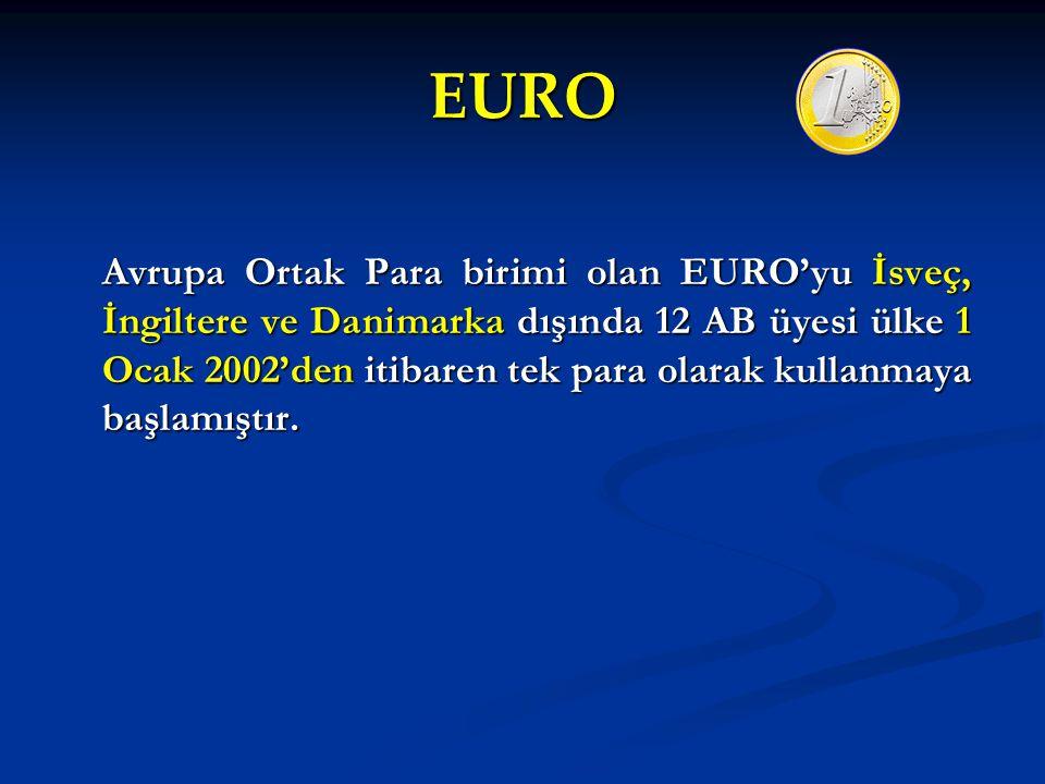 EURO Avrupa Ortak Para birimi olan EURO'yu İsveç, İngiltere ve Danimarka dışında 12 AB üyesi ülke 1 Ocak 2002'den itibaren tek para olarak kullanmaya