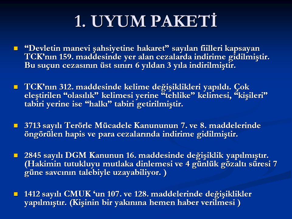 """1. UYUM PAKETİ """"Devletin manevi şahsiyetine hakaret"""" sayılan fiilleri kapsayan TCK'nın 159. maddesinde yer alan cezalarda indirime gidilmiştir. Bu suç"""
