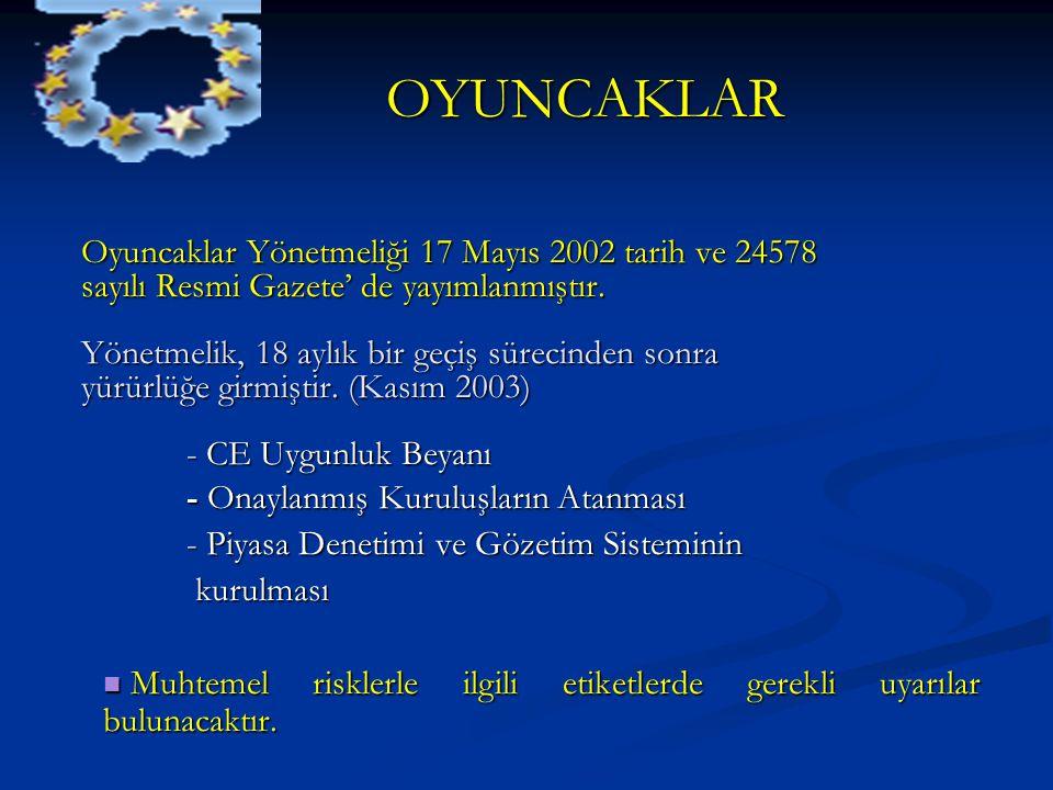 OYUNCAKLAR OYUNCAKLAR Oyuncaklar Yönetmeliği 17 Mayıs 2002 tarih ve 24578 sayılı Resmi Gazete' de yayımlanmıştır. Yönetmelik, 18 aylık bir geçiş sürec