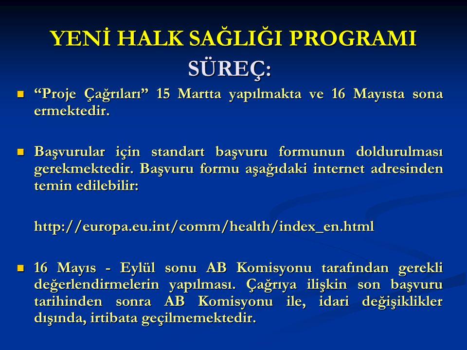 """YENİ HALK SAĞLIĞI PROGRAMI SÜREÇ: """"Proje Çağrıları"""" 15 Martta yapılmakta ve 16 Mayısta sona ermektedir. """"Proje Çağrıları"""" 15 Martta yapılmakta ve 16 M"""