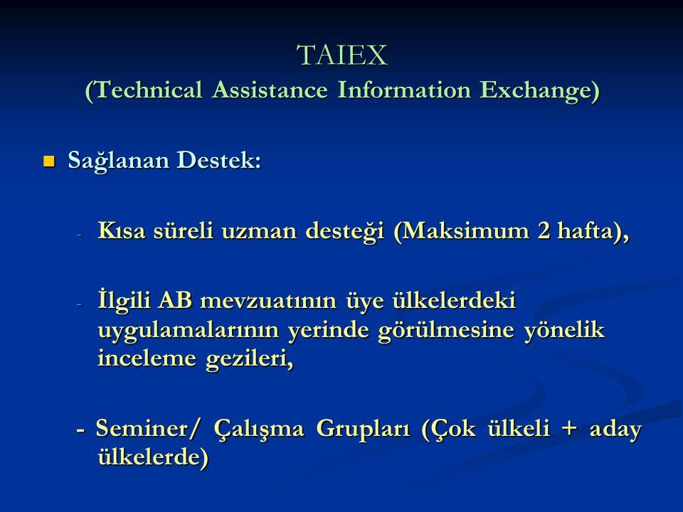 TAIEX (Technical Assistance Information Exchange) Sağlanan Destek: Sağlanan Destek: - Kısa süreli uzman desteği (Maksimum 2 hafta), - İlgili AB mevzua