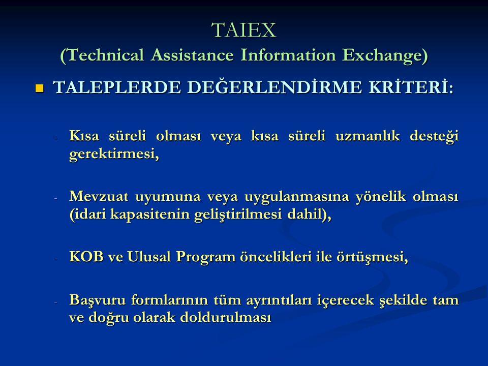 TAIEX (Technical Assistance Information Exchange) TALEPLERDE DEĞERLENDİRME KRİTERİ: TALEPLERDE DEĞERLENDİRME KRİTERİ: - Kısa süreli olması veya kısa s