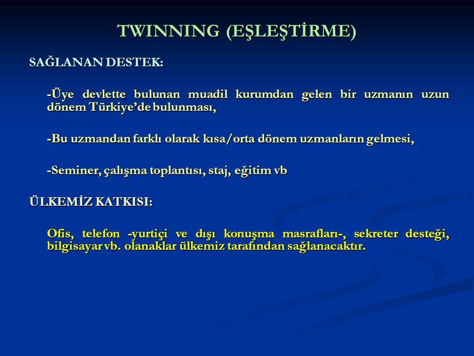 TWINNING (EŞLEŞTİRME) SAĞLANAN DESTEK: -Üye devlette bulunan muadil kurumdan gelen bir uzmanın uzun dönem Türkiye'de bulunması, -Bu uzmandan farklı ol