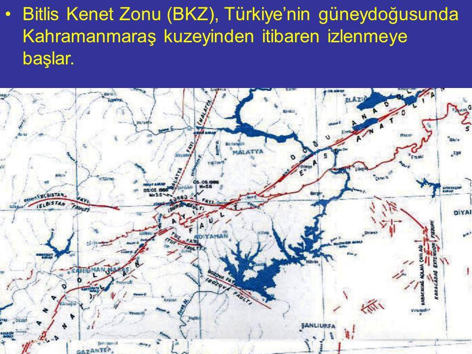 NEOTEKTONİK Doç.Dr. Yaşar EREN Bitlis Kenet Zonu (BKZ), Türkiye'nin güneydoğusunda Kahramanmaraş kuzeyinden itibaren izlenmeye başlar.
