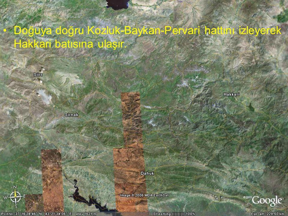 NEOTEKTONİK Doç.Dr. Yaşar EREN Doğuya doğru Kozluk-Baykan-Pervari hattını izleyerek Hakkari batısına ulaşır.