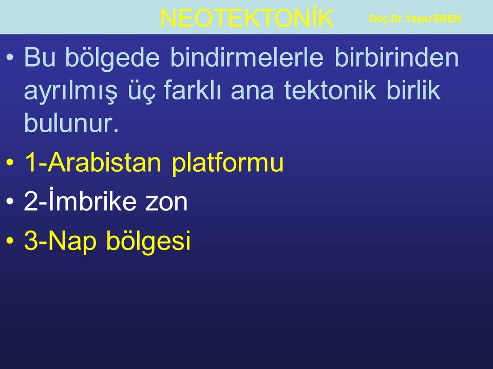 NEOTEKTONİK Doç.Dr. Yaşar EREN Bu bölgede bindirmelerle birbirinden ayrılmış üç farklı ana tektonik birlik bulunur. 1-Arabistan platformu 2-İmbrike zo