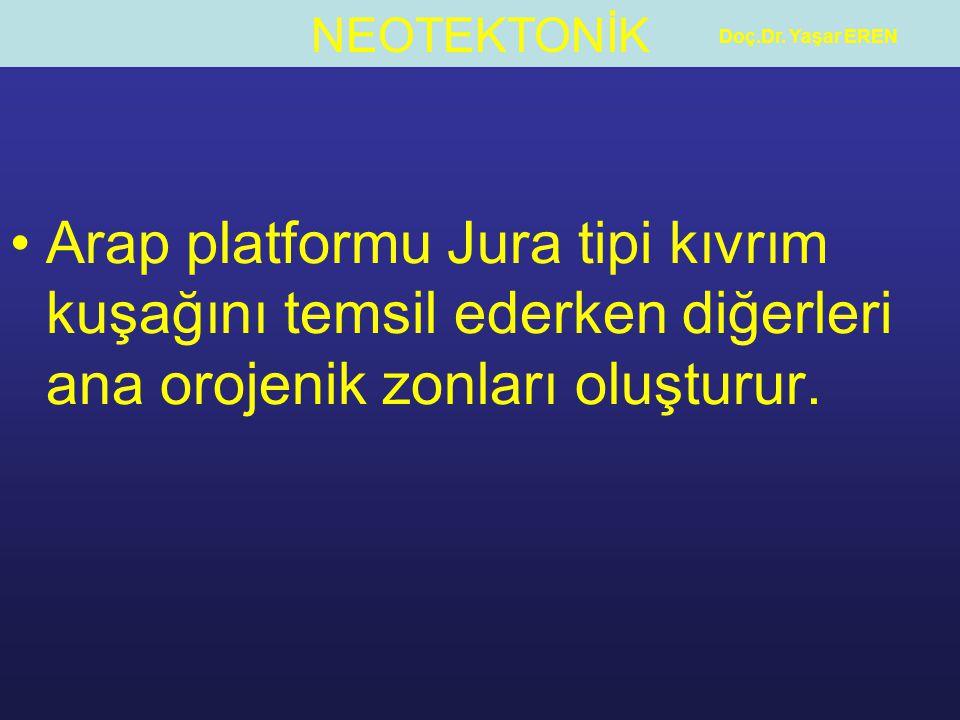 NEOTEKTONİK Doç.Dr. Yaşar EREN Arap platformu Jura tipi kıvrım kuşağını temsil ederken diğerleri ana orojenik zonları oluşturur.