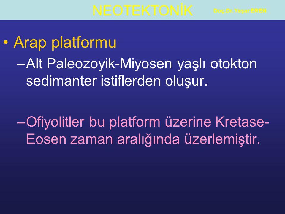 NEOTEKTONİK Doç.Dr. Yaşar EREN Arap platformu –Alt Paleozoyik-Miyosen yaşlı otokton sedimanter istiflerden oluşur. –Ofiyolitler bu platform üzerine Kr