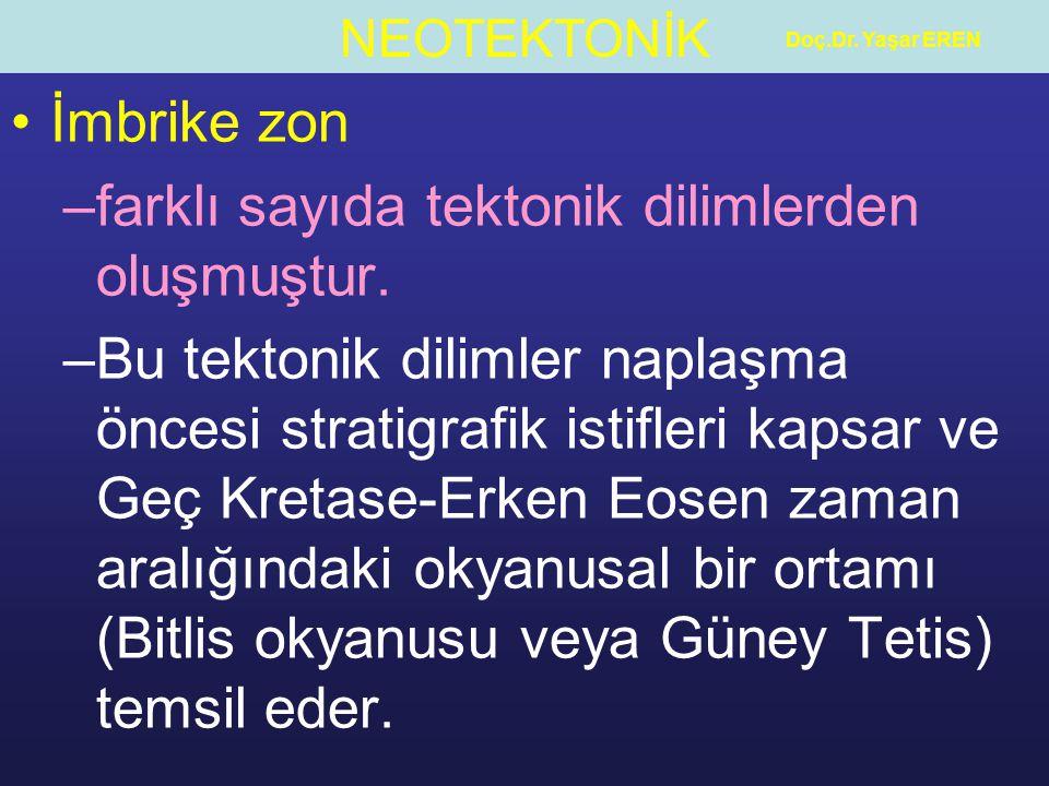 NEOTEKTONİK Doç.Dr.Yaşar EREN İmbrike zon –farklı sayıda tektonik dilimlerden oluşmuştur.