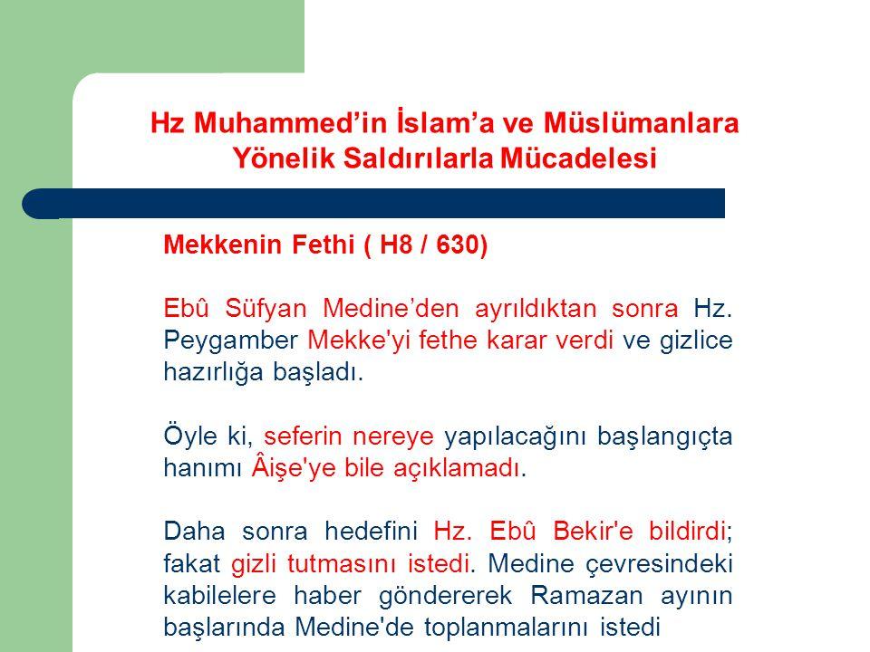 Mekkenin Fethi ( H8 / 630) Ebû Süfyan Medine'den ayrıldıktan sonra Hz.