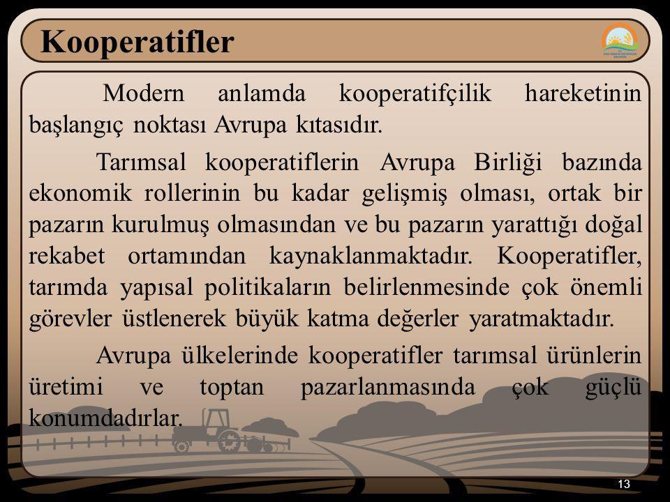 Kooperatifler Modern anlamda kooperatifçilik hareketinin başlangıç noktası Avrupa kıtasıdır. Tarımsal kooperatiflerin Avrupa Birliği bazında ekonomik