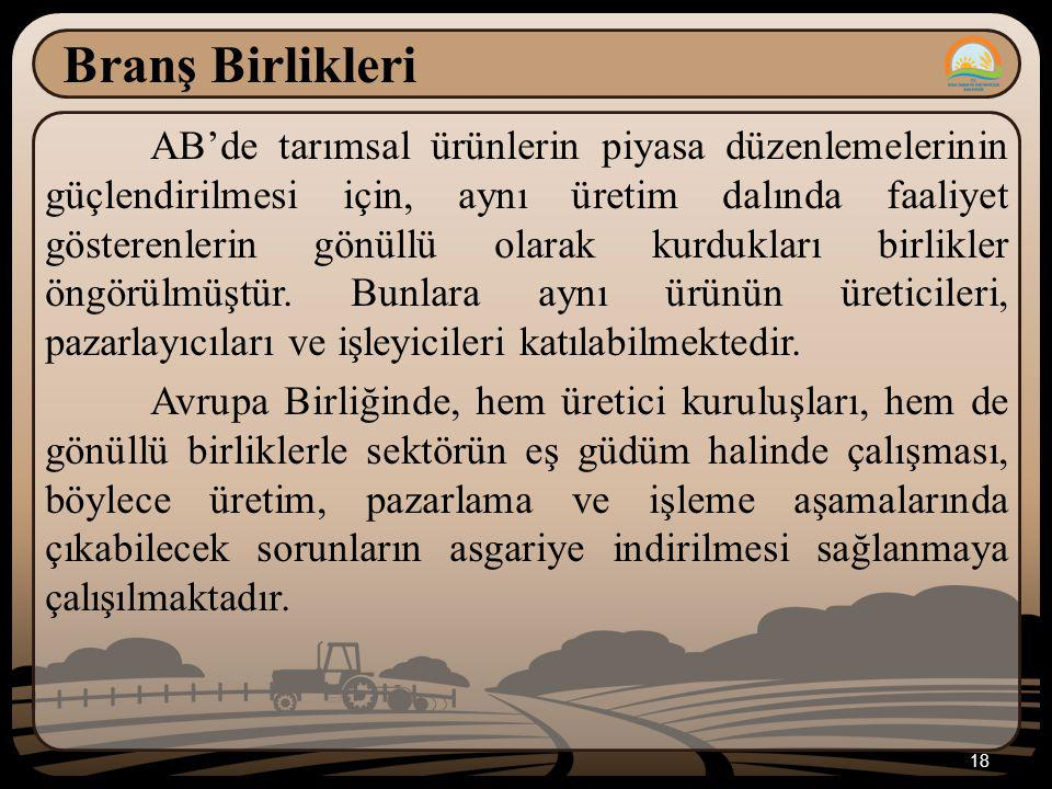 18 Branş Birlikleri AB'de tarımsal ürünlerin piyasa düzenlemelerinin güçlendirilmesi için, aynı üretim dalında faaliyet gösterenlerin gönüllü olarak kurdukları birlikler öngörülmüştür.