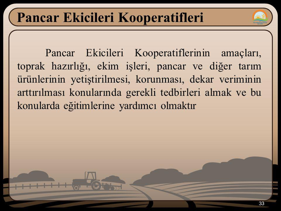 33 Pancar Ekicileri Kooperatifleri Pancar Ekicileri Kooperatiflerinin amaçları, toprak hazırlığı, ekim işleri, pancar ve diğer tarım ürünlerinin yetiştirilmesi, korunması, dekar veriminin arttırılması konularında gerekli tedbirleri almak ve bu konularda eğitimlerine yardımcı olmaktır