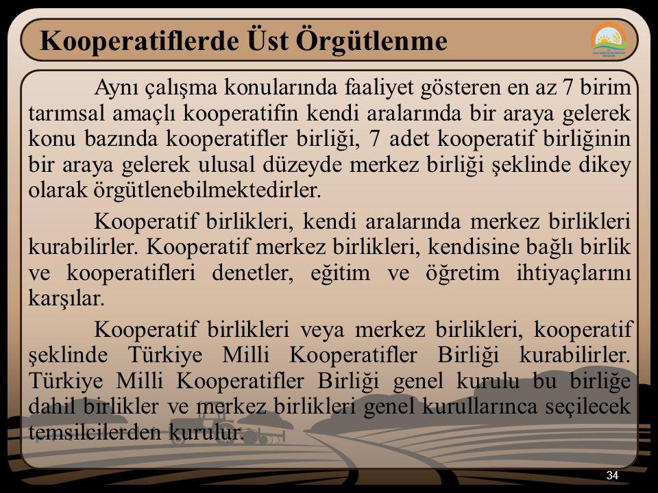 34 Kooperatiflerde Üst Örgütlenme Aynı çalışma konularında faaliyet gösteren en az 7 birim tarımsal amaçlı kooperatifin kendi aralarında bir araya gel