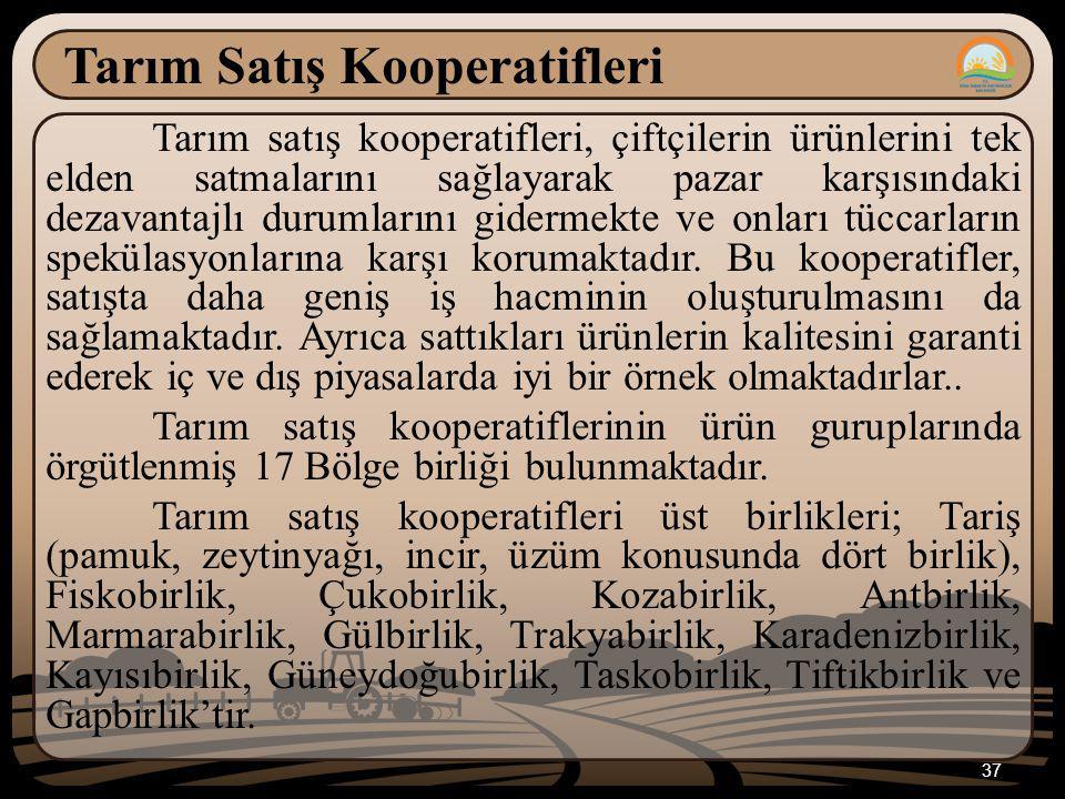 37 Tarım Satış Kooperatifleri Tarım satış kooperatifleri, çiftçilerin ürünlerini tek elden satmalarını sağlayarak pazar karşısındaki dezavantajlı duru