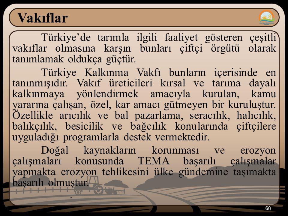 68 Vakıflar Türkiye'de tarımla ilgili faaliyet gösteren çeşitli vakıflar olmasına karşın bunları çiftçi örgütü olarak tanımlamak oldukça güçtür. Türki