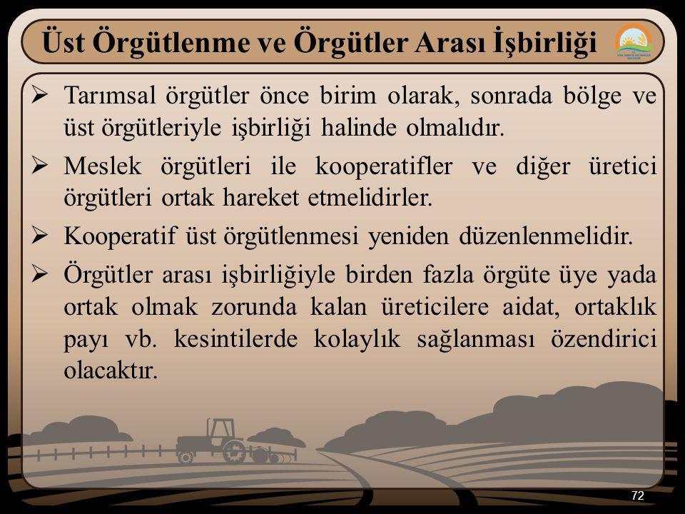 72 Üst Örgütlenme ve Örgütler Arası İşbirliği  Tarımsal örgütler önce birim olarak, sonrada bölge ve üst örgütleriyle işbirliği halinde olmalıdır. 