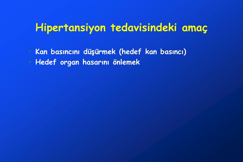 Hipertansiyon tedavisindeki amaç Kan basıncını düşürmek (hedef kan basıncı) Hedef organ hasarını önlemek