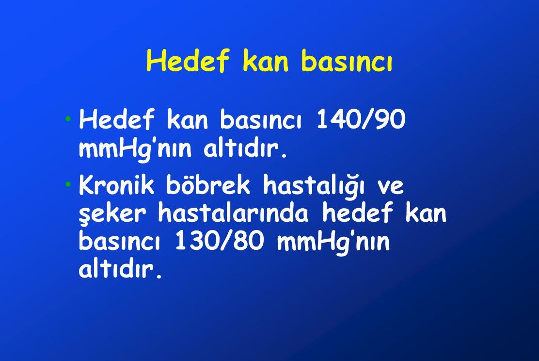 Hedef kan basıncı Hedef kan basıncı 140/90 mmHg'nın altıdır. Kronik böbrek hastalığı ve şeker hastalarında hedef kan basıncı 130/80 mmHg'nın altıdır.