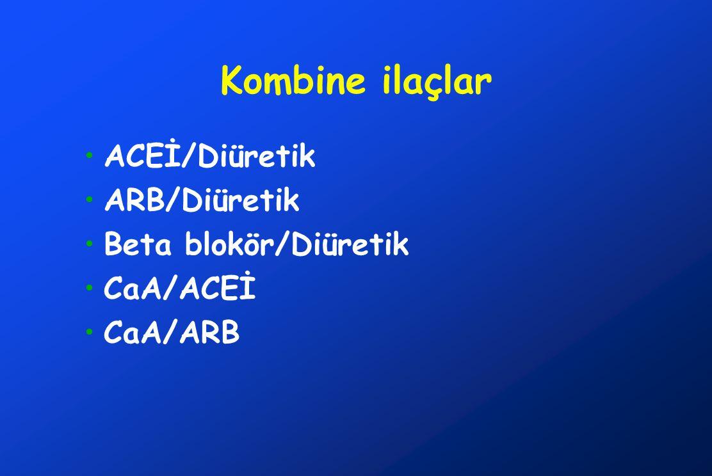 Kombine ilaçlar ACEİ/Diüretik ARB/Diüretik Beta blokör/Diüretik CaA/ACEİ CaA/ARB
