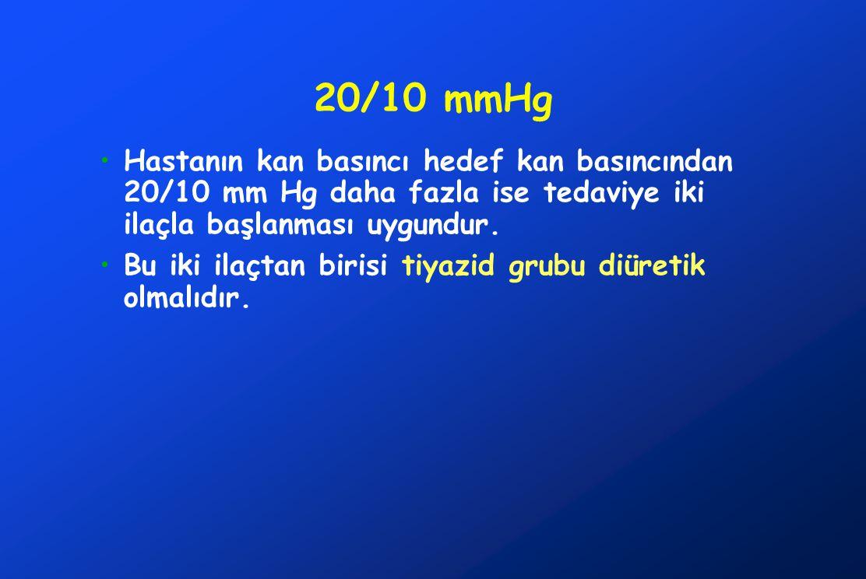 20/10 mmHg Hastanın kan basıncı hedef kan basıncından 20/10 mm Hg daha fazla ise tedaviye iki ilaçla başlanması uygundur. Bu iki ilaçtan birisi tiyazi