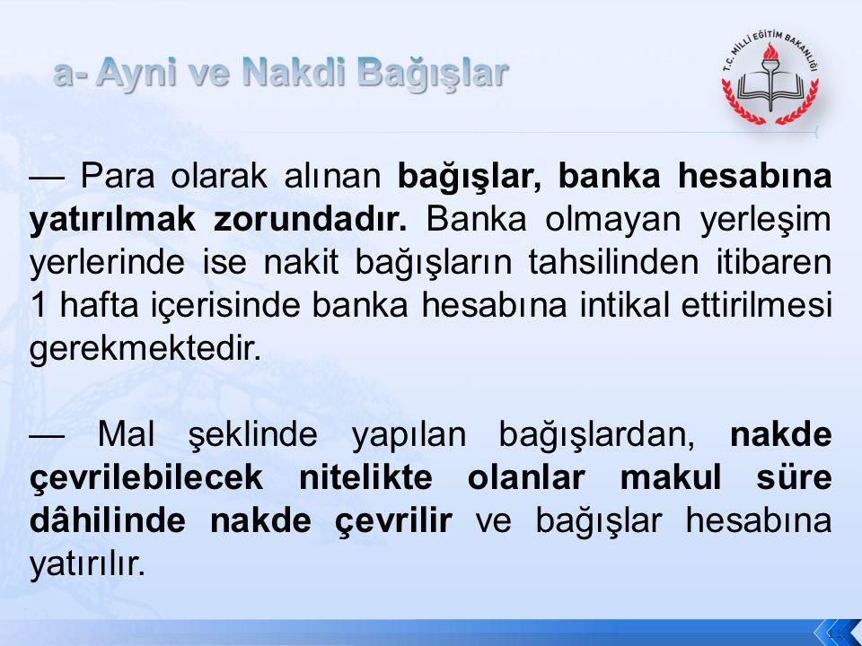 11 — Para olarak alınan bağışlar, banka hesabına yatırılmak zorundadır. Banka olmayan yerleşim yerlerinde ise nakit bağışların tahsilinden itibaren 1