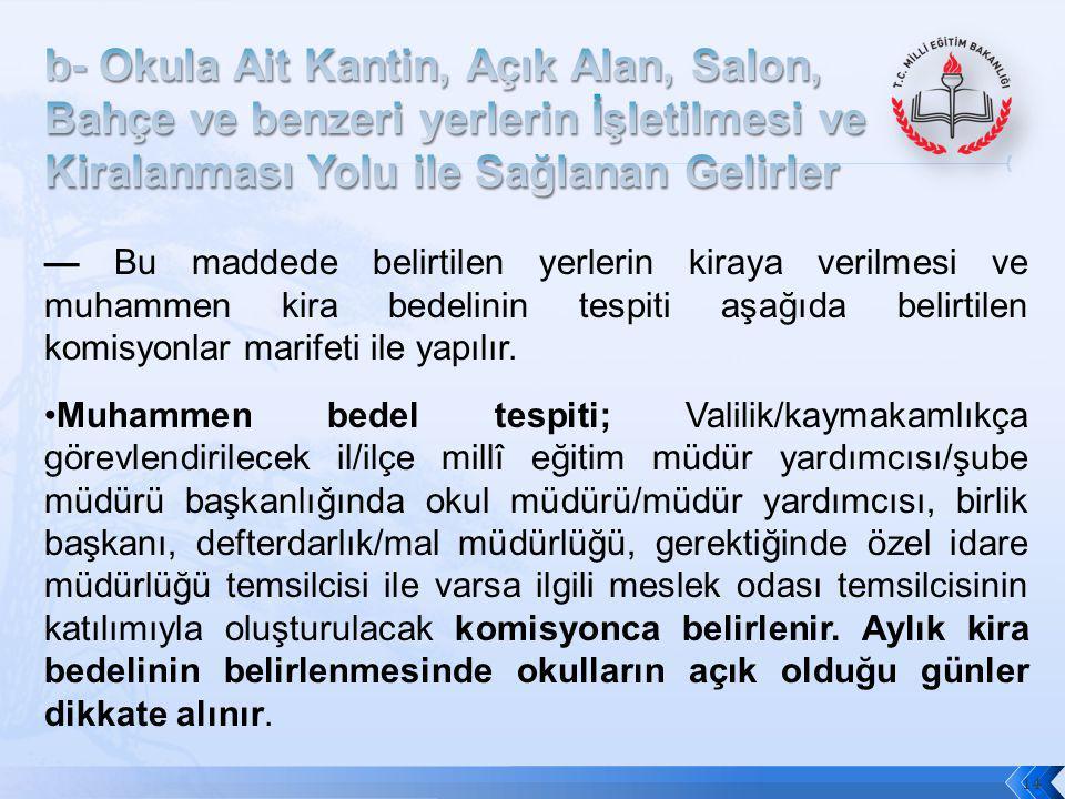 14 — Bu maddede belirtilen yerlerin kiraya verilmesi ve muhammen kira bedelinin tespiti aşağıda belirtilen komisyonlar marifeti ile yapılır. Muhammen