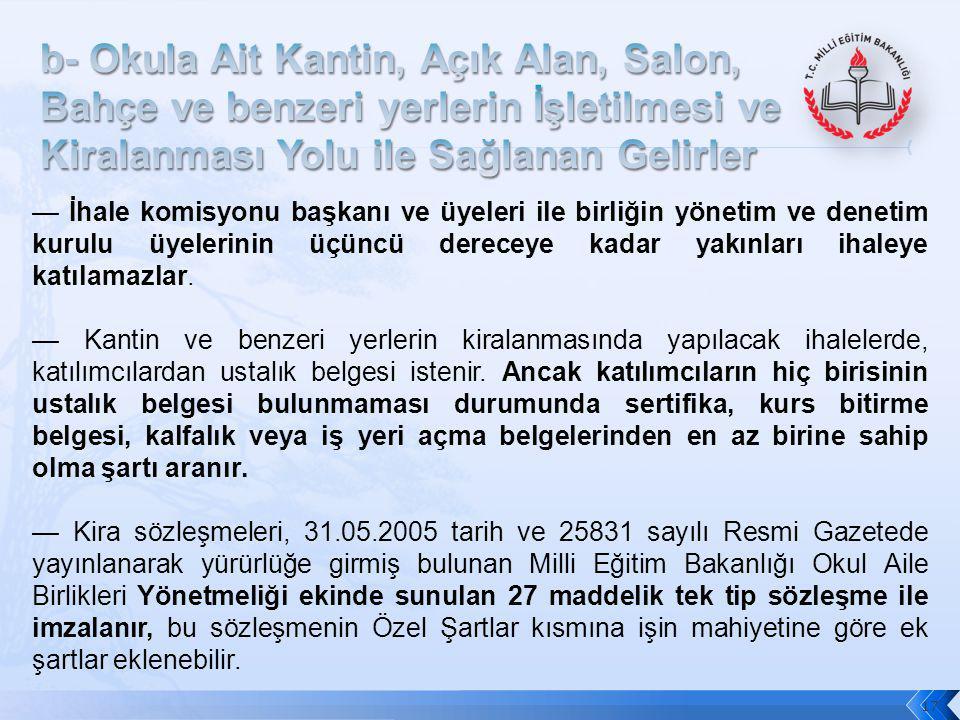 17 — İhale komisyonu başkanı ve üyeleri ile birliğin yönetim ve denetim kurulu üyelerinin üçüncü dereceye kadar yakınları ihaleye katılamazlar. — Kant