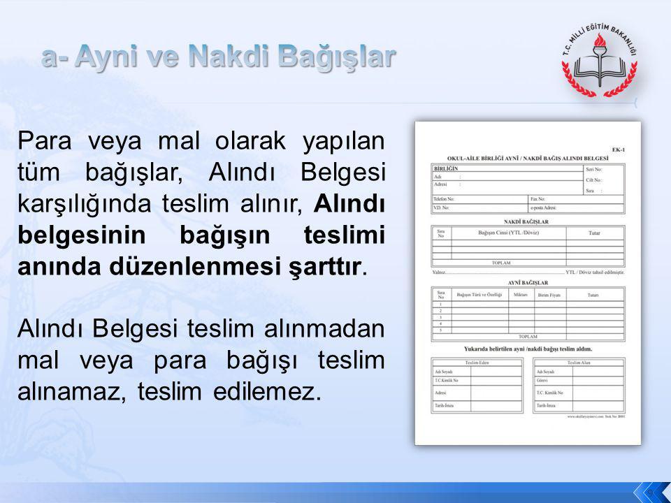 9 Para veya mal olarak yapılan tüm bağışlar, Alındı Belgesi karşılığında teslim alınır, Alındı belgesinin bağışın teslimi anında düzenlenmesi şarttır.
