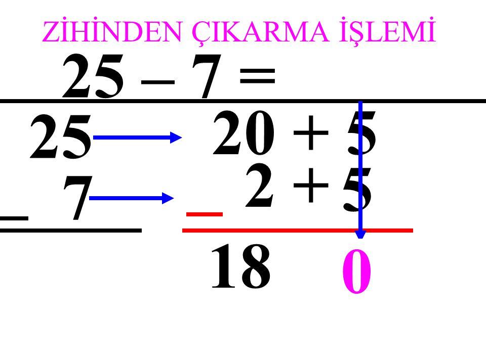 ZİHİNDEN ÇIKARMA İŞLEMİ 25 – 7 = 25 7 20 + 5 5 +2 0 0 18