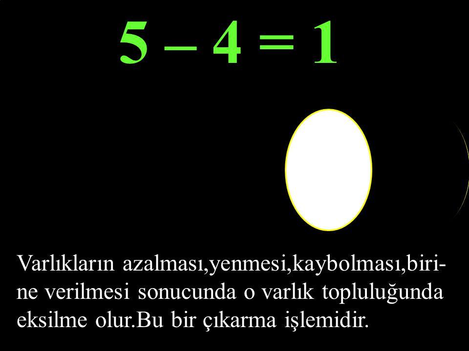 5 EKSİLEN -2 = ÇIKAN FARK 3