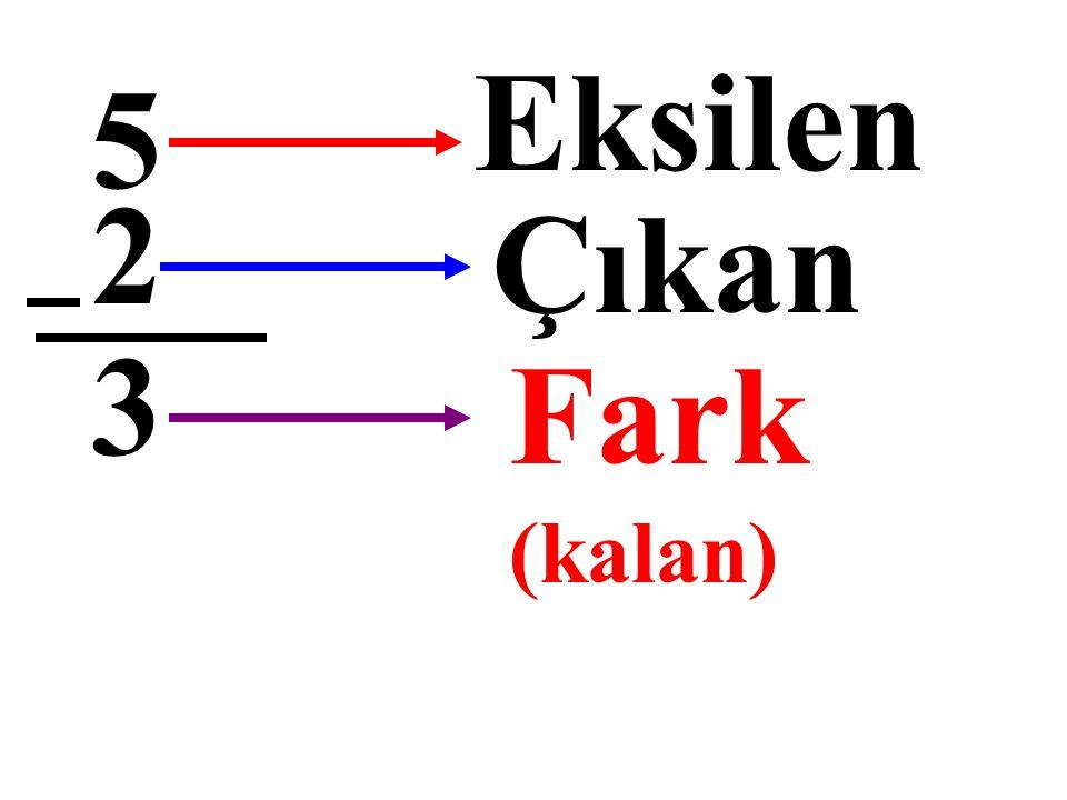 5 – 2 = 3 Eksilen Çıkan Fark