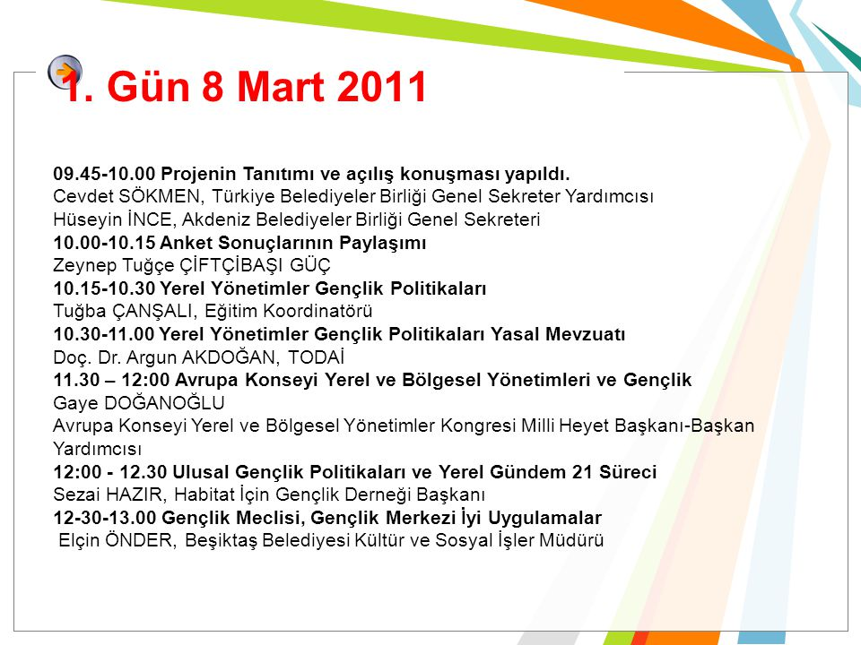 1. Gün 8 Mart 2011 09.45-10.00 Projenin Tanıtımı ve açılış konuşması yapıldı. Cevdet SÖKMEN, Türkiye Belediyeler Birliği Genel Sekreter Yardımcısı Hüs
