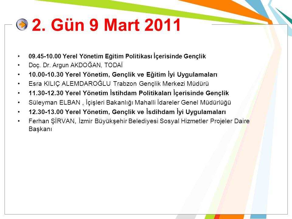 2. Gün 9 Mart 2011 09.45-10.00 Yerel Yönetim Eğitim Politikası İçerisinde Gençlik Doç. Dr. Argun AKDOĞAN, TODAİ 10.00-10.30 Yerel Yönetim, Gençlik ve