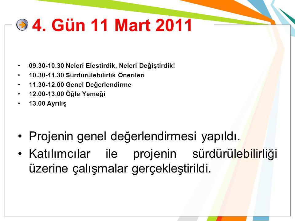 4. Gün 11 Mart 2011 09.30-10.30 Neleri Eleştirdik, Neleri Değiştirdik! 10.30-11.30 Sürdürülebilirlik Önerileri 11.30-12.00 Genel Değerlendirme 12.00-1