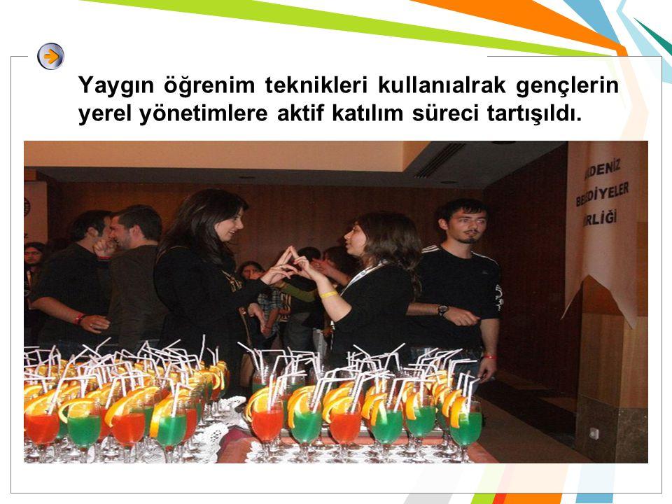 Yaygın öğrenim teknikleri kullanıalrak gençlerin yerel yönetimlere aktif katılım süreci tartışıldı.