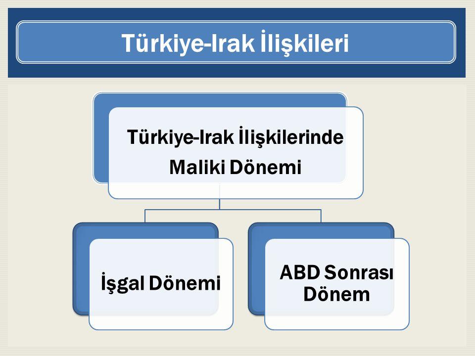 Türkiye-Irak İlişkilerinde Maliki Dönemi İşgal Dönemi ABD Sonrası Dönem Türkiye-Irak İlişkileri