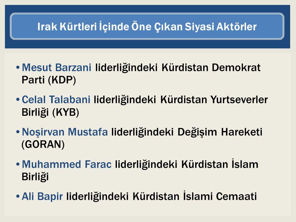 Mesut Barzani liderliğindeki Kürdistan Demokrat Parti (KDP) Celal Talabani liderliğindeki Kürdistan Yurtseverler Birliği (KYB) Noşirvan Mustafa liderl