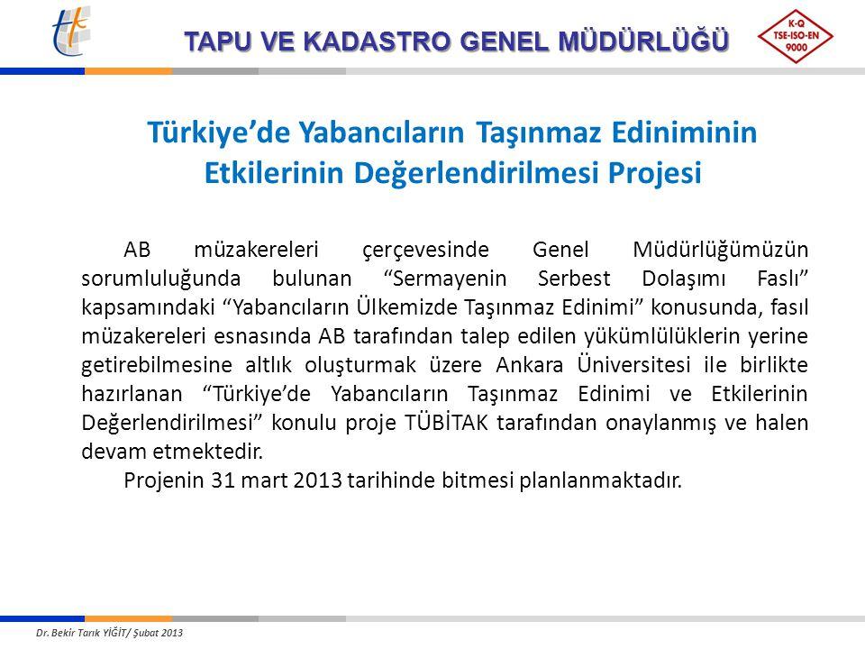 Türkiye'de Yabancıların Taşınmaz Ediniminin Etkilerinin Değerlendirilmesi Projesi AB müzakereleri çerçevesinde Genel Müdürlüğümüzün sorumluluğunda bulunan Sermayenin Serbest Dolaşımı Faslı kapsamındaki Yabancıların Ülkemizde Taşınmaz Edinimi konusunda, fasıl müzakereleri esnasında AB tarafından talep edilen yükümlülüklerin yerine getirebilmesine altlık oluşturmak üzere Ankara Üniversitesi ile birlikte hazırlanan Türkiye'de Yabancıların Taşınmaz Edinimi ve Etkilerinin Değerlendirilmesi konulu proje TÜBİTAK tarafından onaylanmış ve halen devam etmektedir.